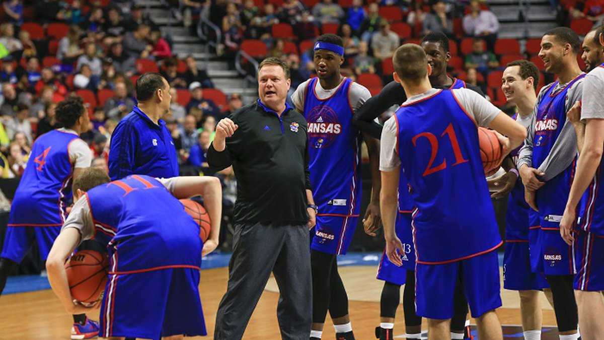 Kansas coach Bill Self gathers his playersduring practice for a first round men's college...