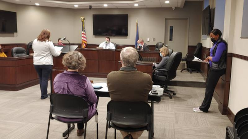 Emporia City Commissioners shown at a meeting earlier in 2021.