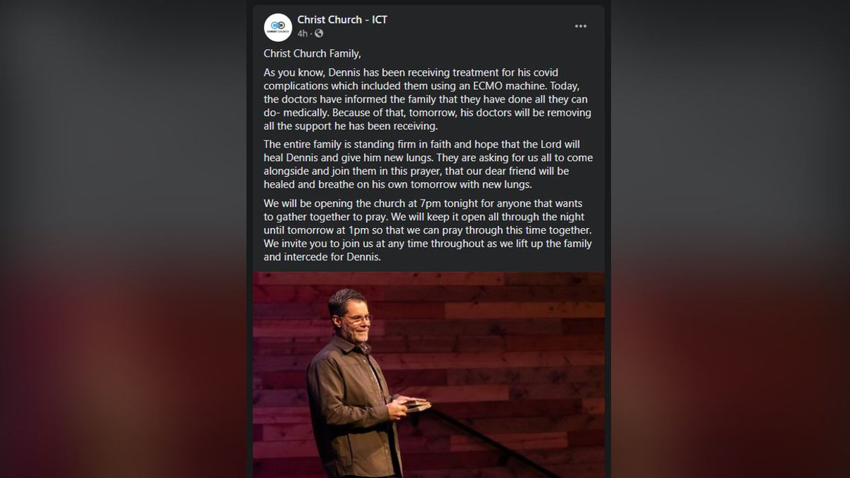A Wichita pastor is losing his battle with COVID-19, according to a post about Pastor Dennis...
