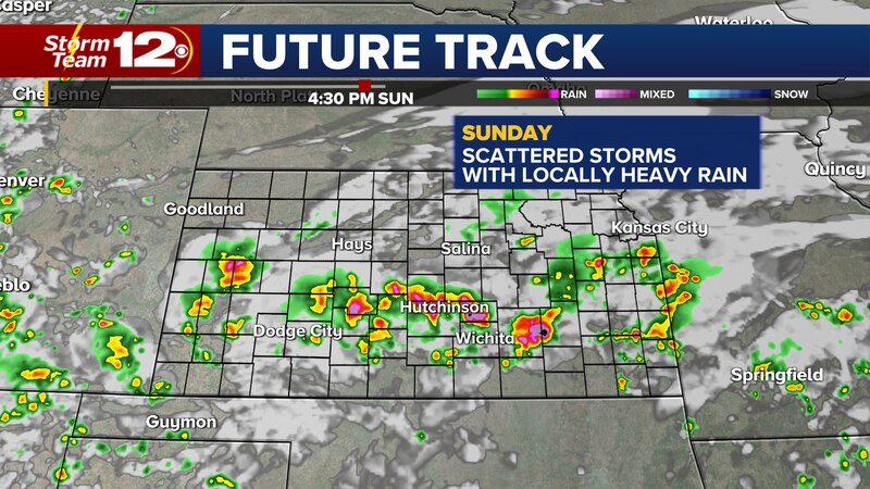 Forecast radar around 4 PM Sunday.