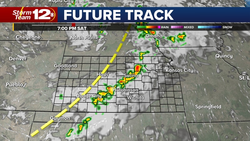 Future Track shows storms moving into central Kansas Saturday evening.