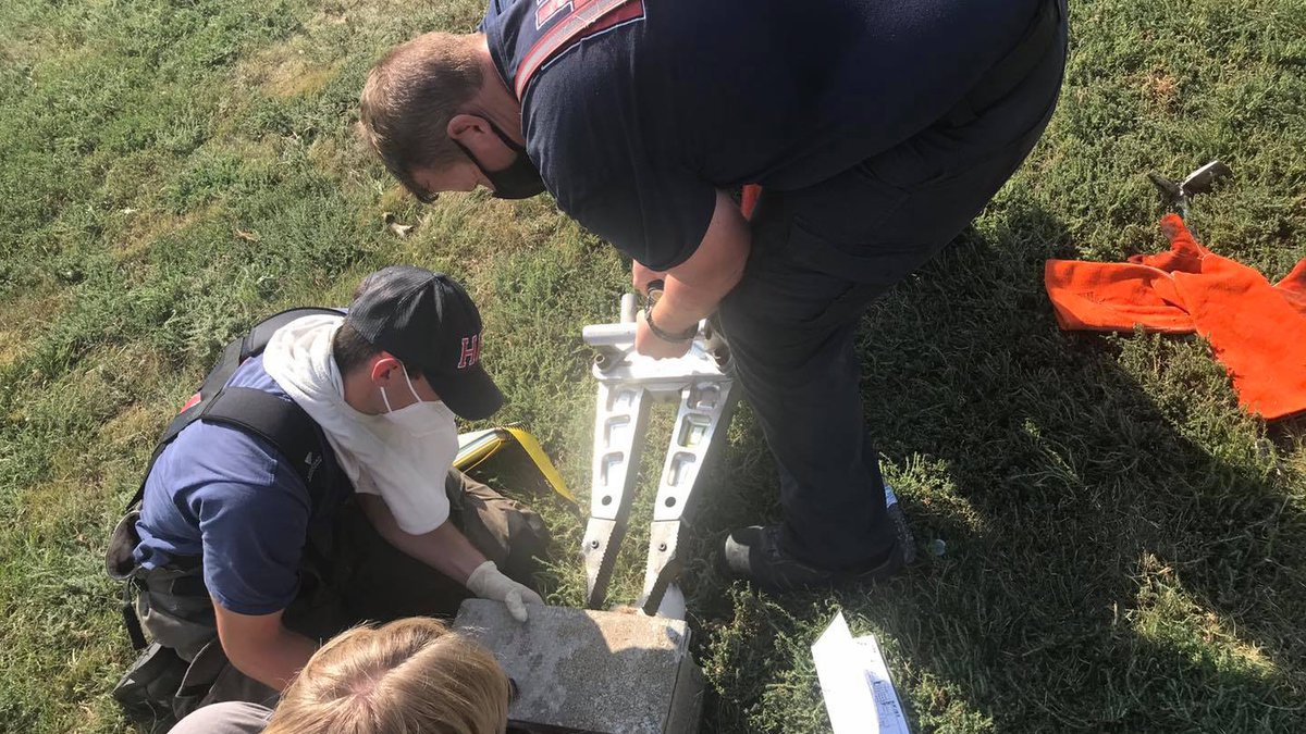 The Hays Fire Department brought out the Jaw of Life on Wednesday to free a Husky who found his...