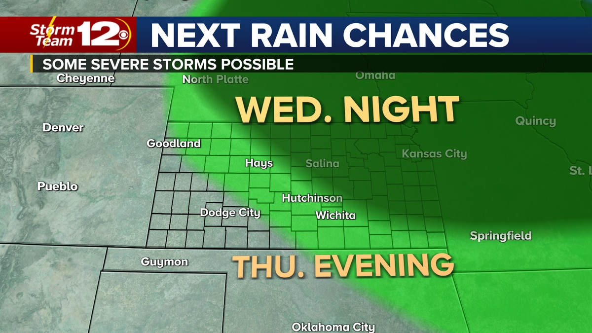 Chances for thunderstorms will increase for parts of the Plains Wednesday and Thursday.