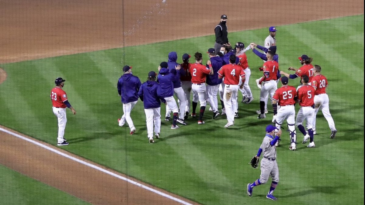 The Wichita Wind Surge celebrate a 1-0 walk-off win against the Amarillo Sod Poodles Wednesday...