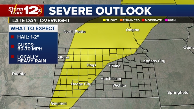 Severe storms possible later today