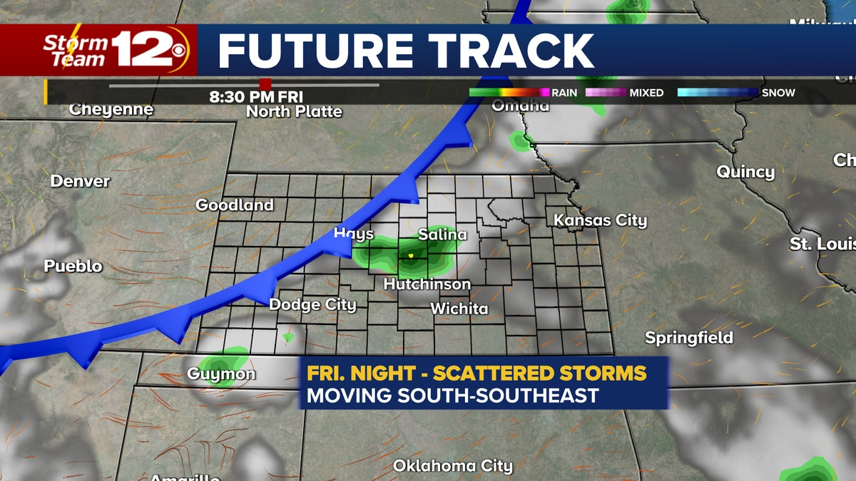 Scattered storms will impact parts of the state Friday night.