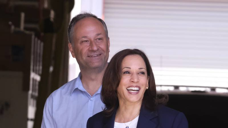 Vice President Kamala Harris with second gentleman Douglas Emhoff visit the Los Angeles Fire...