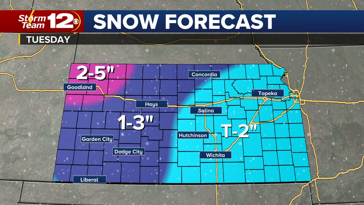 Winter weather will return to the state of Kansas Monday night through most of the day on...