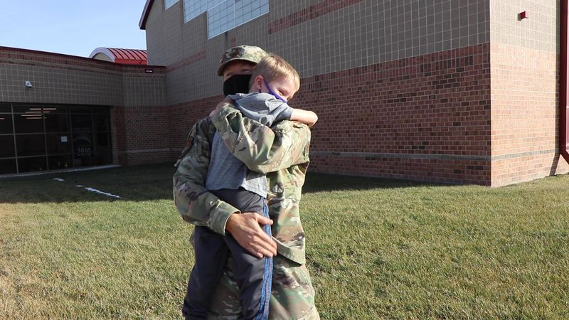Air Force Maj. Travis Petersen surprised his kids on Wednesday (Jan. 13, 2020) after returning...