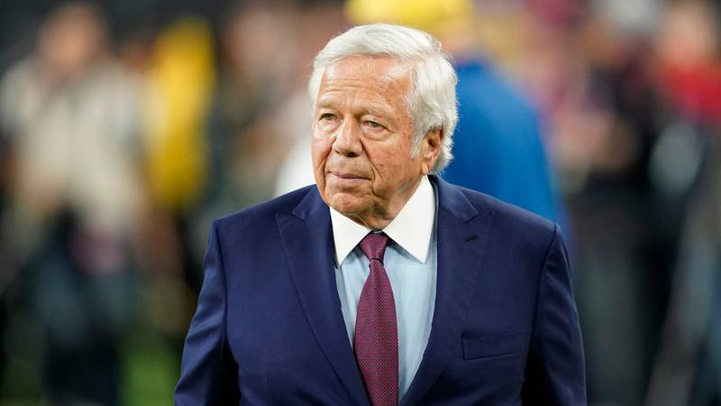 FILE - In this Dec. 1, 2019, file photo, New England Patriots owner Robert Kraft an NFL...