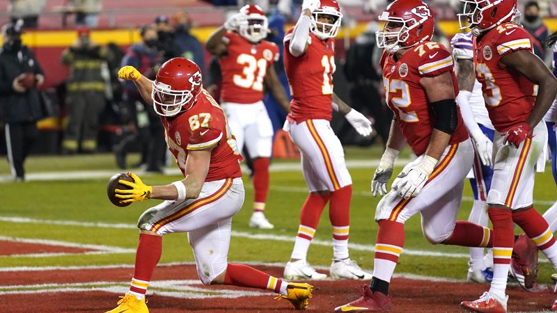 Kansas City Chiefs tight end Travis Kelce (87) celebrates after catching a 1-yard touchdown...