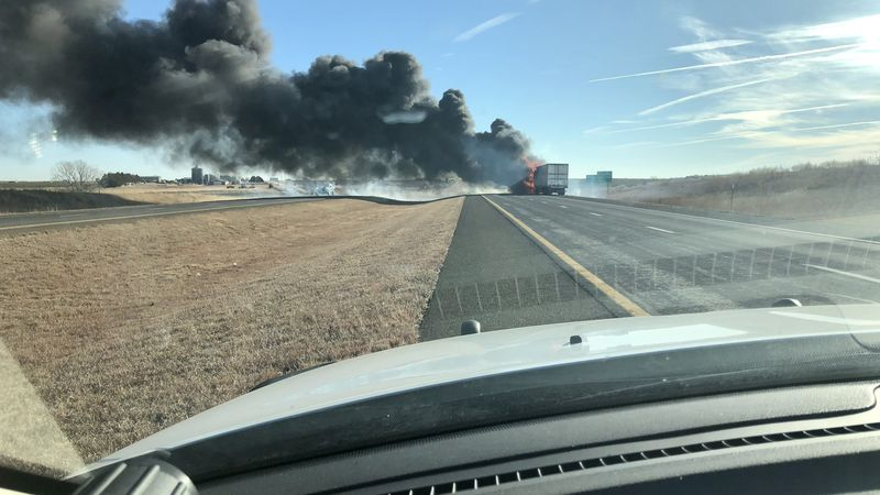 A truck caught fire about 5 miles west of Hays on Tuesday.