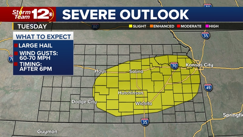 Slight risk of severe storms Tuesday.