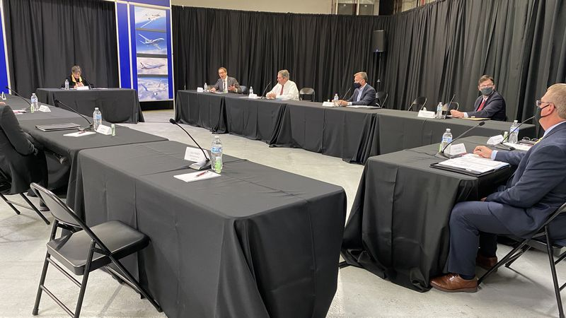 Wichita aerospace manufacturers and businesses meet with Gov. Laura Kelly  and Lt. Gov. David...