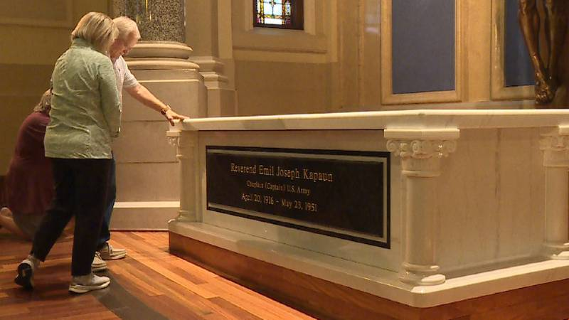 Father Kapaun's tomb at the Cathedral of the Immaculate Conception (Wichita, Kan.)