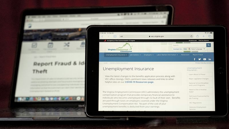 Web pages used to show information for collecting unemployment insurance in Virginia, right,...