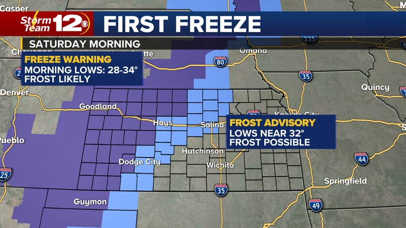 Frost and freeze concerns for Saturday