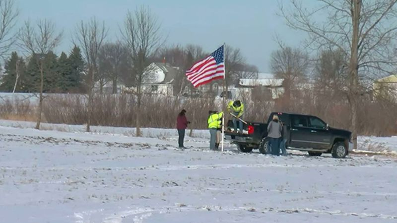 An American flag was placed at the site of a military helicopter crash that killed three in...