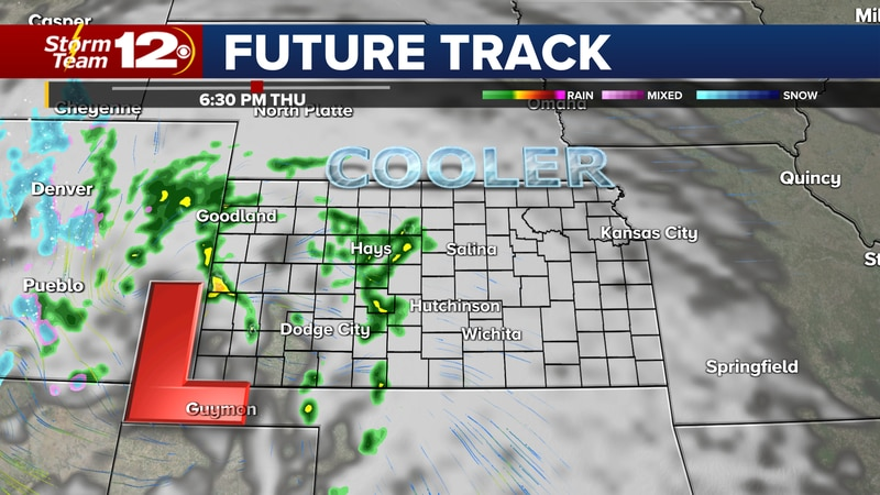 Rain showers in western Kansas Thursday afternoon will spread farther east Thursday night.