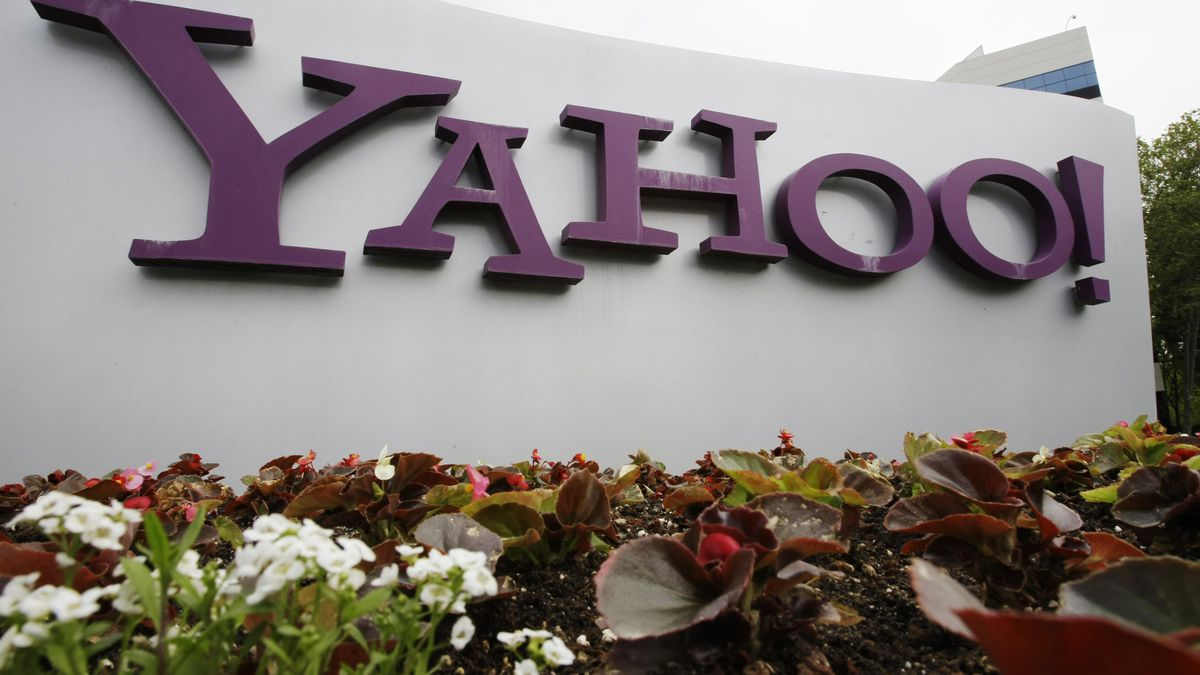 FILE - The Yahoo logo is displayed outside of offices in Santa Clara, Calif., in this Monday,...