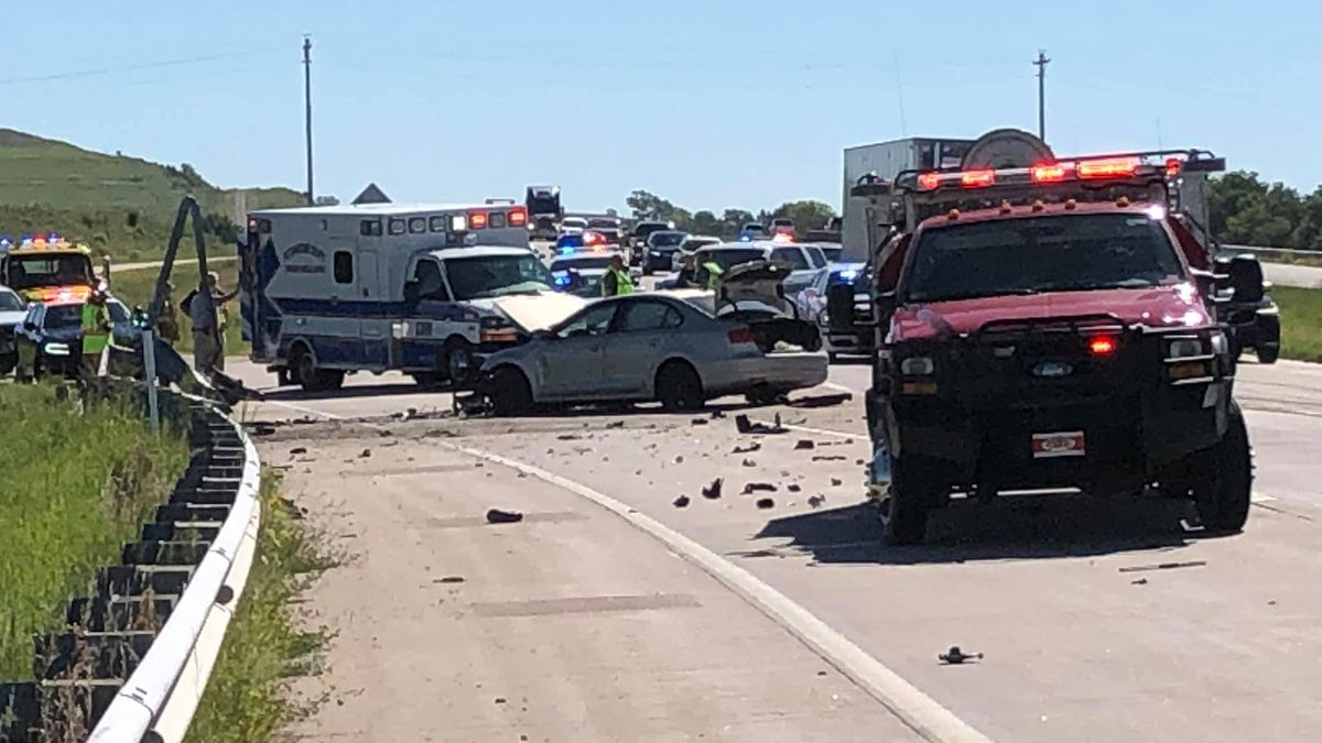 A patrol car was hit at the end of the chase near Vera Road in the westbound lanes.