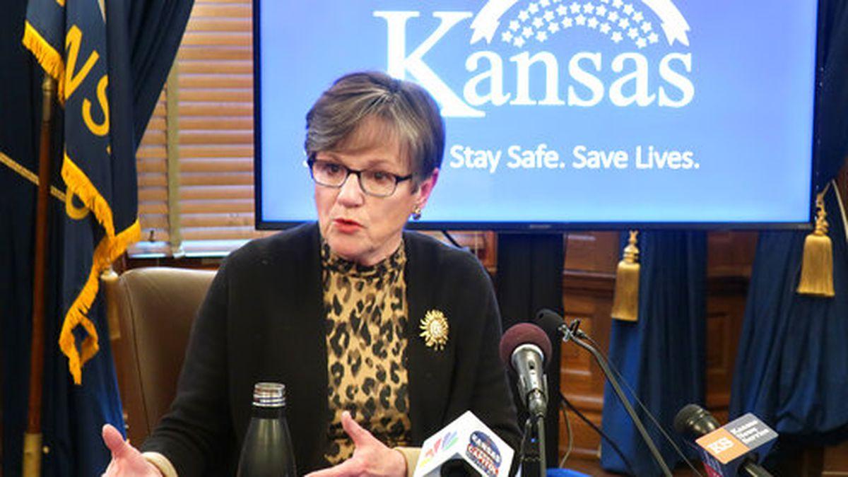 FILE - In this April 15, 2020 file photo, Kansas Gov. Laura Kelly discusses the coronavirus...