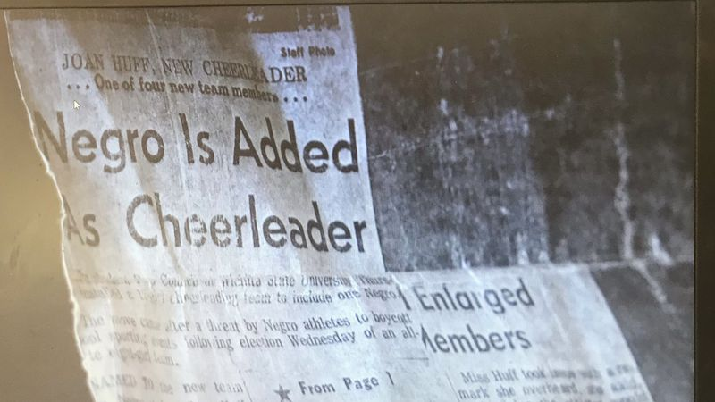 Newspaper article documents Joan Huff as first Black to be added to Wichita State University's...