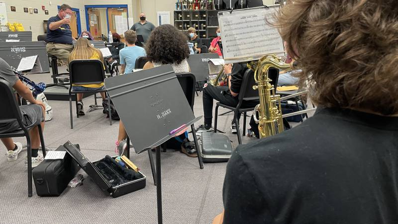 Northwest High's freshman band rehearsing with Dr. Gary Leopold