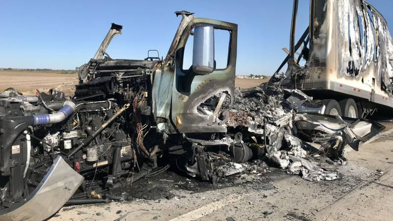 Truck on fire after two vehicle accident.