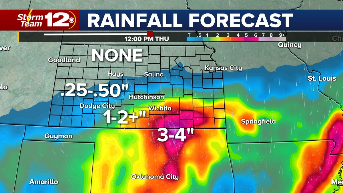 Rain chances increase for southern Kansas Wednesday