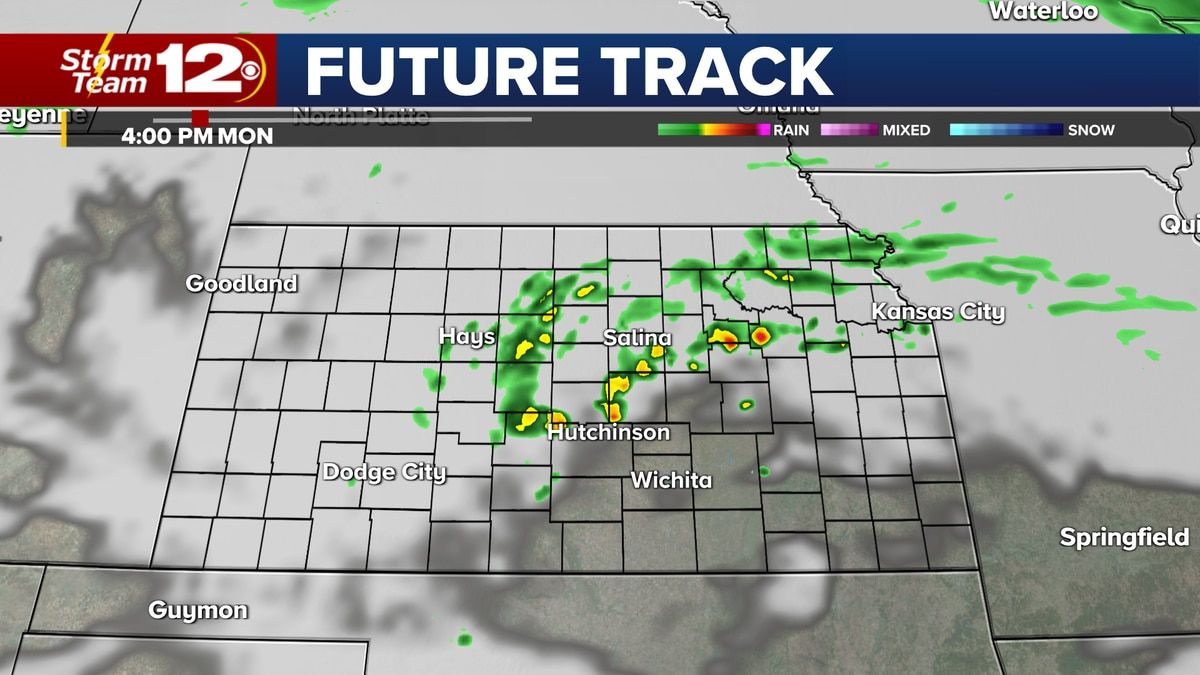 Showers moving into eastern Kansas by Monday afternoon.