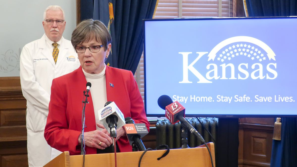 In this Friday, May 8, 2020 photo, Kansas Gov. Laura Kelly discusses the coronavirus pandemic...