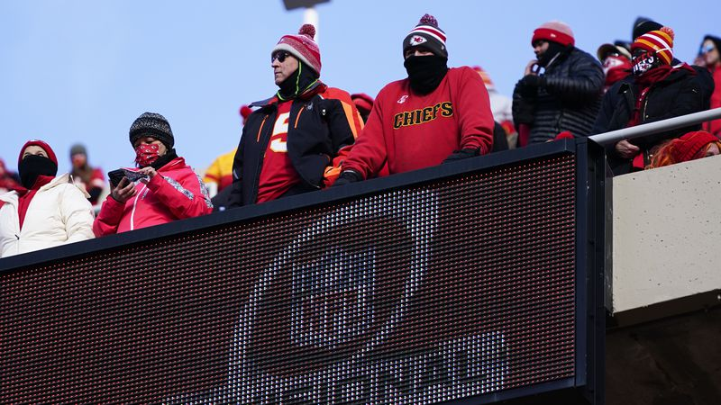 Fans watch from the stands during the first half of an NFL divisional round football game...