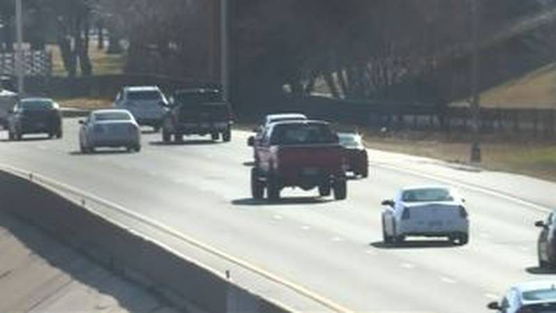 Vehicles traveling on a Kansas highway