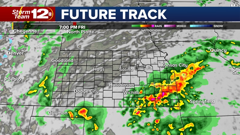 Showers and storms expected over south central and southeast Kansas.