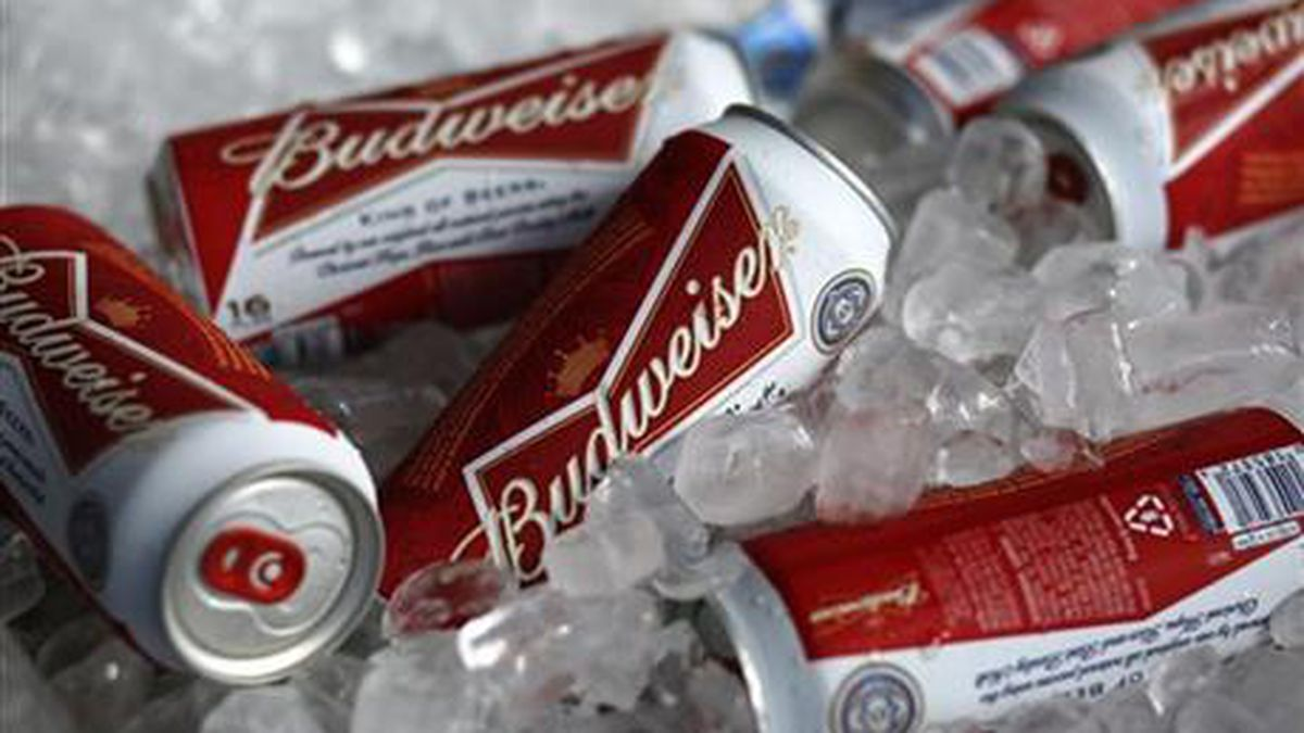 FILE - In this Thursday, March 5, 2015 file photo, Budweiser beer cans at a concession stand at...