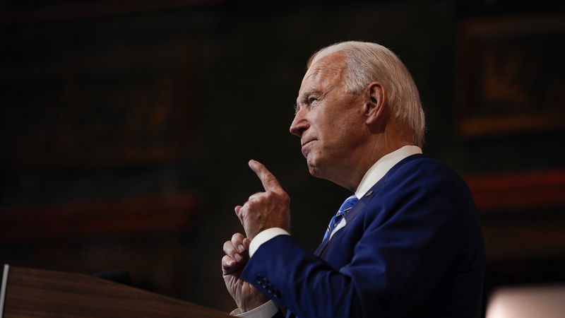 FILE - In this Nov. 25, 2020 file photo, President-elect Joe Biden speaks in Wilmington, Del.