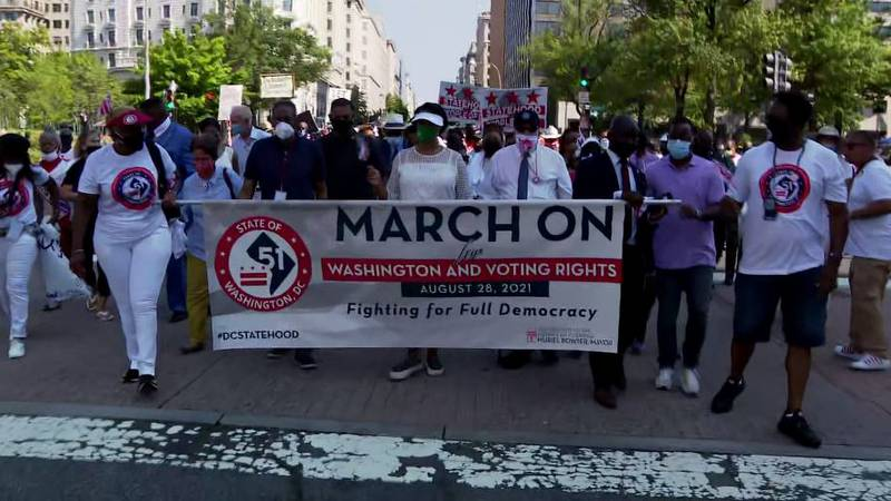 Hundreds of voting rights activists gathered in Washington Saturday to mark the 58th...