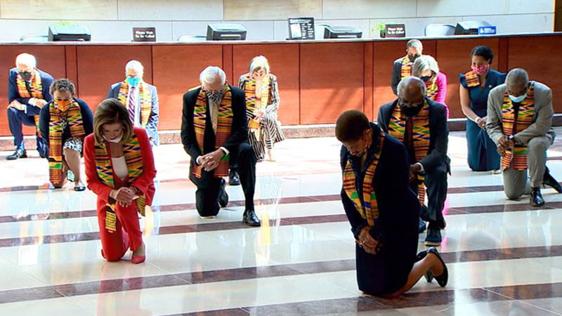 Democratic lawmakers held a moment of silence for George Floyd on Monday and knelt for 8...
