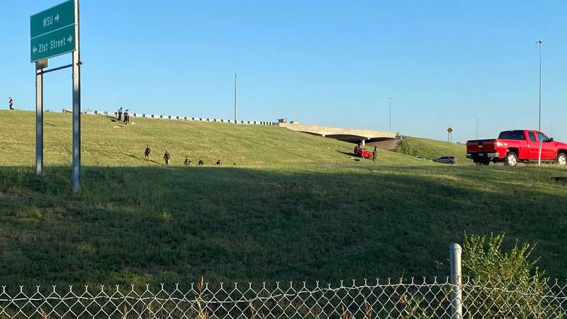 KHP said an erratic driver was driving on I-135 when they crashed out.
