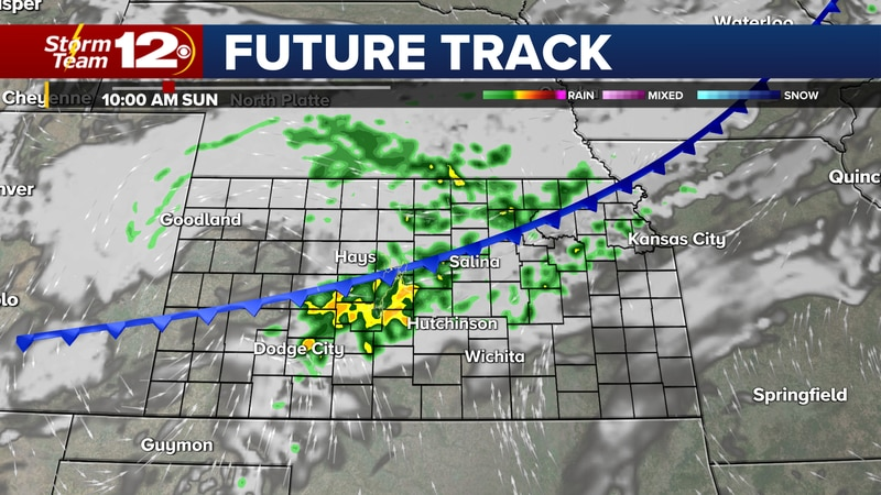 Future Track at 10 AM Sunday, showing scattered showers and thunderstorms.