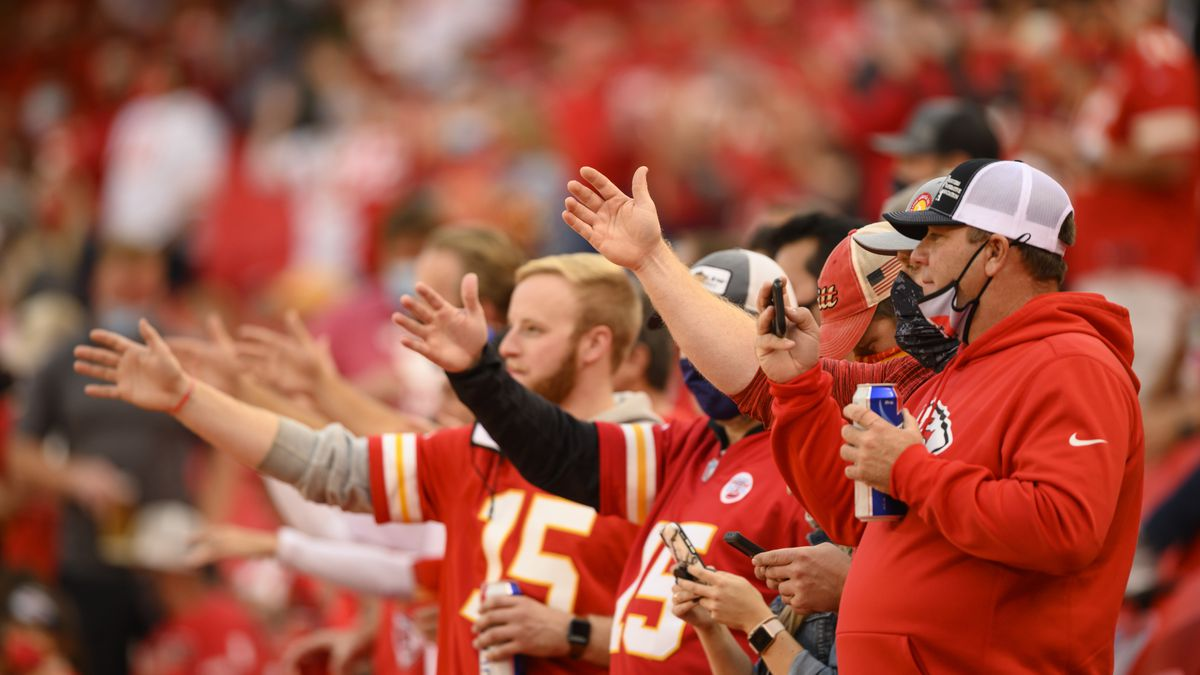"FILE - In this Oct. 5, 2020, file photo, Kansas City Chiefs fans do ""the chop"" at the start of..."