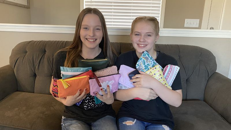"""Sisters Brooke and Alyssa make """"girl time"""" bags for Haysville schools"""