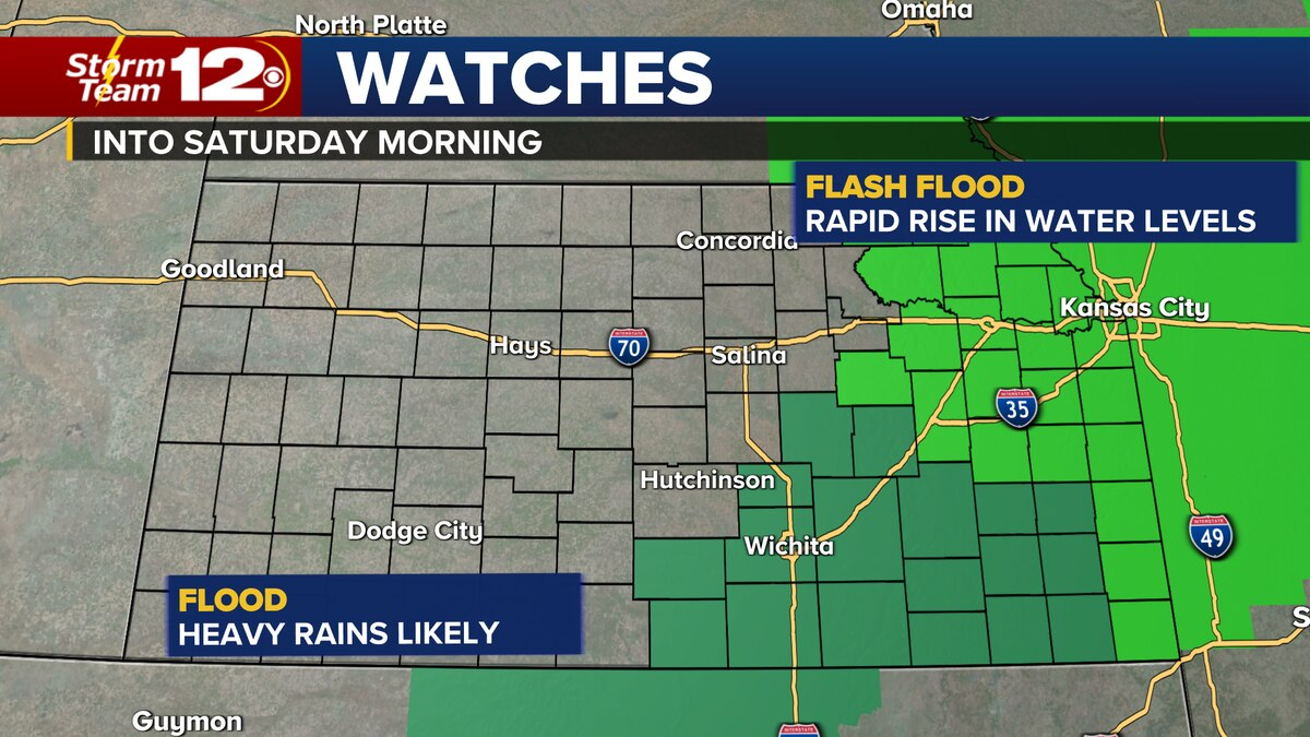 Flood Watch for portions of south central and southeast Kansas through Saturday morning.