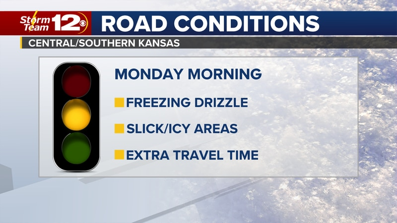 Meteorologist Jake Dunne says freezing drizzle continues to fall on south-central Kansas and...