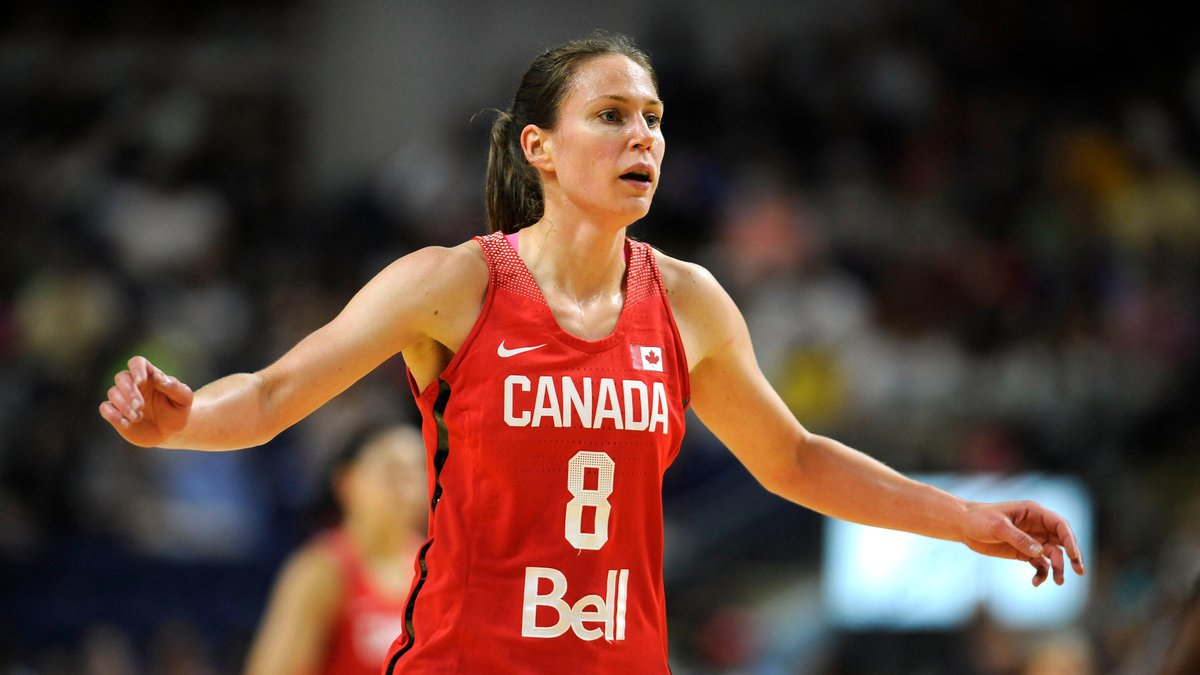 Canada's Kim Gaucher during the first half of a women's exhibition basketball game, Friday,...