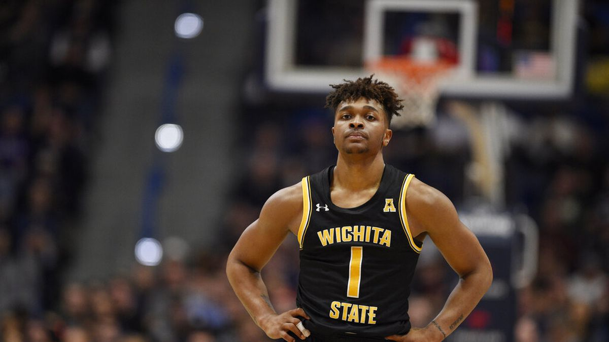Wichita State's Tyson Etienne (1) in the second half of an NCAA college basketball game,...