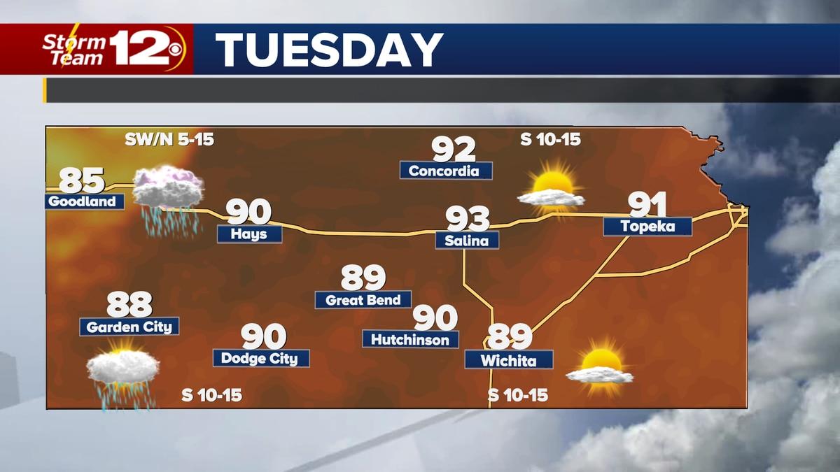 Forecast high temperatures Tuesday.