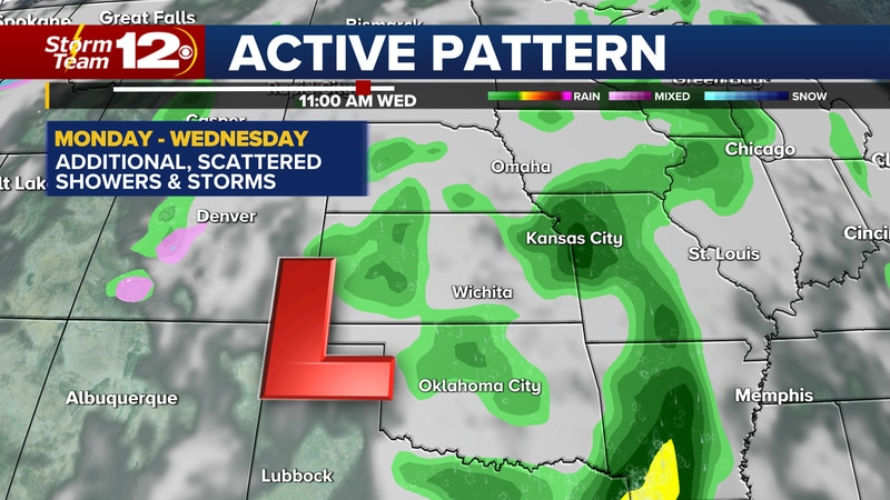 Storm chances will last through Wednesday.