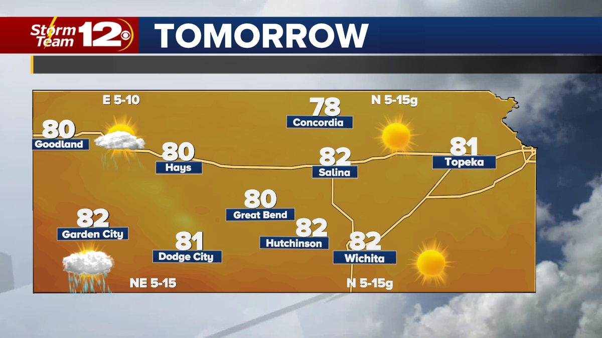 A cold front will drop highs into the low 80s on Sunday.